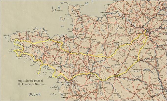 l'itinéraire de Baretti, carte de la Bretagne
