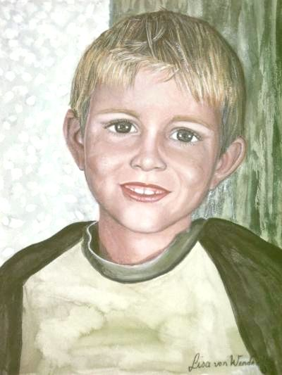 Bildtitel - mein Neffe Dennis, gemalte Portraits, Bilder, Elisabeth Becker-Schmollmann, Künstlername, Pseudonym Lisa Wenderoth, Lisa Sinnpflug