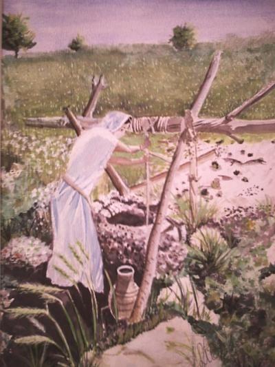 gemalte Portraits, Portrait, Die Frau am Brunnen, Realismus, gemalt von Elisabeth, Lissa Wenderoth Künstlername, Lisa Becker-Schmollmann, Künstlerin, Malerin
