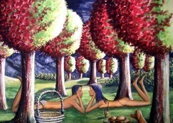 Bildtitel Begegnung beim Picknick, BaumkronenArt, Surrealismus, Gemälde, Lissa Wenderoth