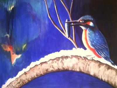 Eisvogel mit Beute, gegenständlich, Gemälde, Lissa Wenderoth