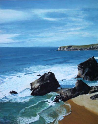 Felsen und Meer, gemalte Bilder im Realismus