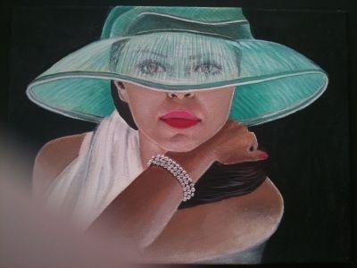 gemalte Portraits von Elisabeth Becker-Schmollmann, Dame mit grünem Hut