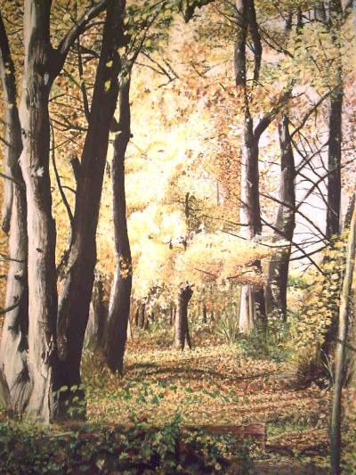 goldenes Herbstblühen, Gemälde von Kunstmalerin Lissa Wenderoth, Elisabeth Becker-Schmollmann