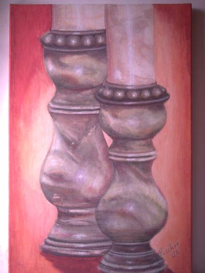 Zwei Kerzenständer, Realismus, gemalt von Elisabeth, Lissa Wenderoth Künstlername, mit vollem Namen Lisa Becker-Schmollmann,