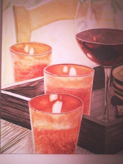 Wein im Kerzenschein, Realismus, gemalt von Elisabeth oder als Künstlername: Lissa Wenderoth