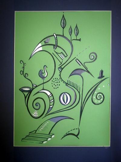 Die Vögel 1, gemalt von Lisa Wenderoth bzw. Lisa Becker, im eigenen Stil, Linienharmonien, Begegnungen