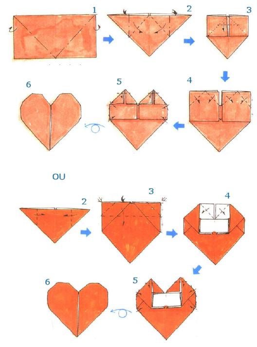 Hojas de arte origami diagramas de plegado - Como hacer un corazon con fotos ...