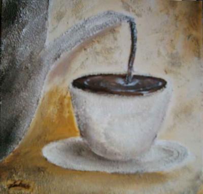 Kaffee natural mischtechnik kaffeesatz und acrylfarbe im