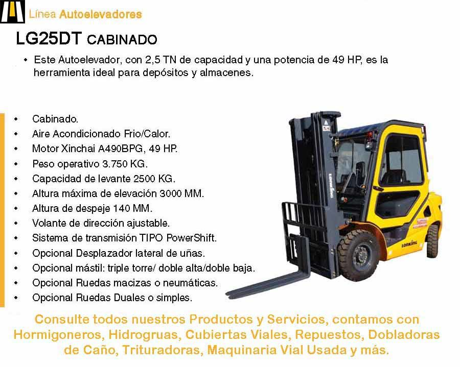 Autoelevador Lonking LG25 Cabinado