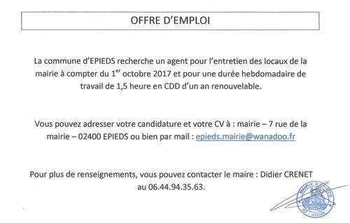 Mairie epieds02 offre d 39 emploi - Offre d emploi pret a porter ...
