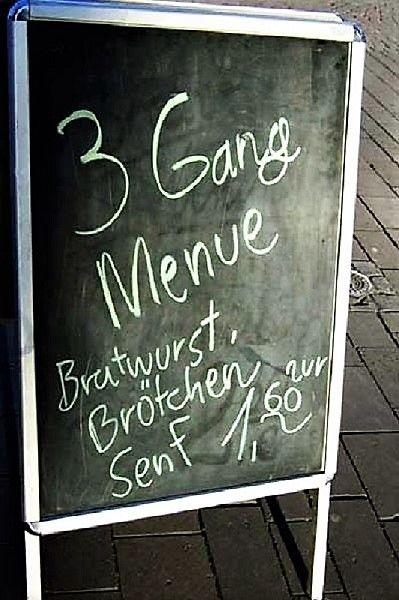 Schild 3 Gänge-Menü