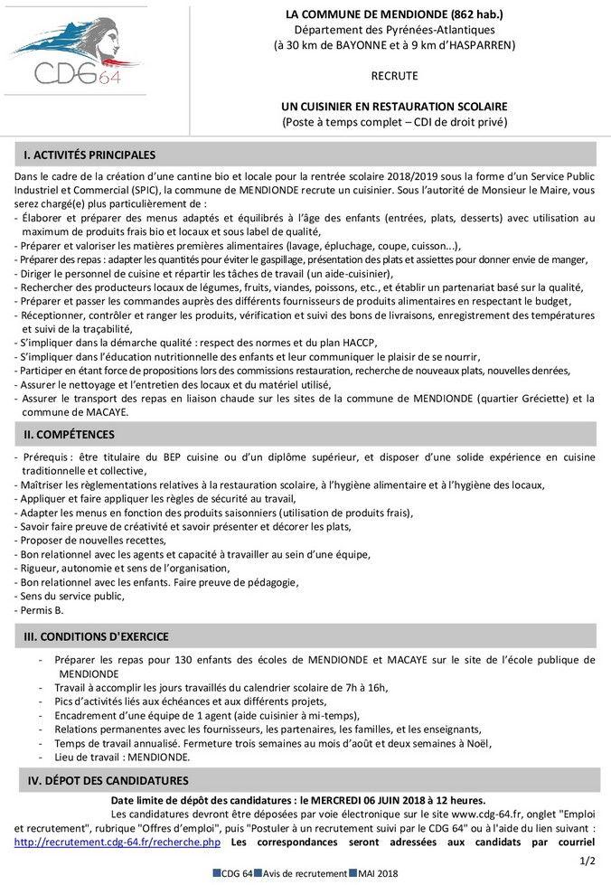 Mendionde lekorne offres d 39 emploi lan eskaintzak for Cuisinier pole emploi