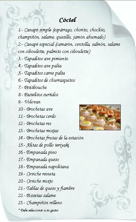 MFC PRODUCCIONES - Cóctel Menú