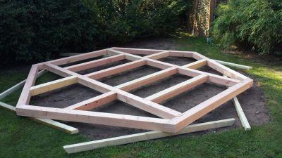 Fass Sauna Holzfundament