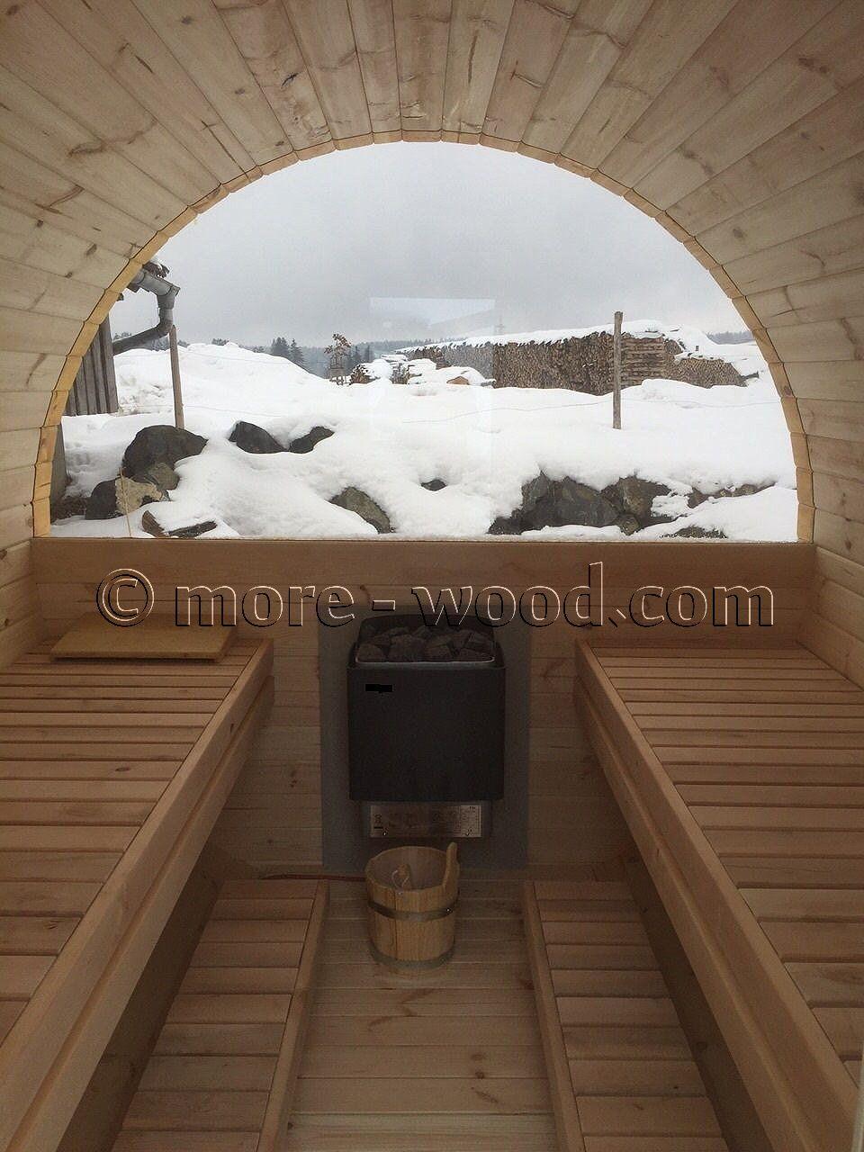 Sauna mit Halblgasrückwand, Fass Sauna,Saunafass,Tonnesauna