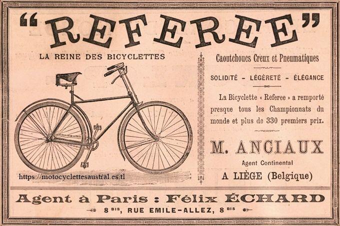 Félix Échard, agent pour les bicyclettes Referee, publicité 1892