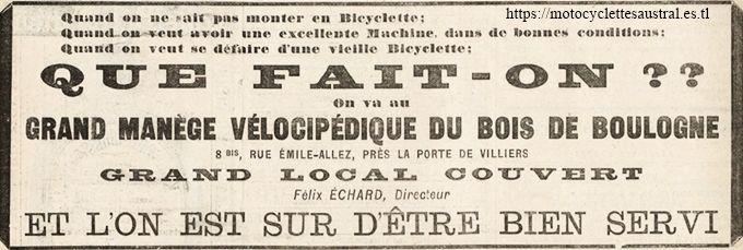 publicité pour le manège vélocipédique du Bois de Boulogne, directeur F. Échard