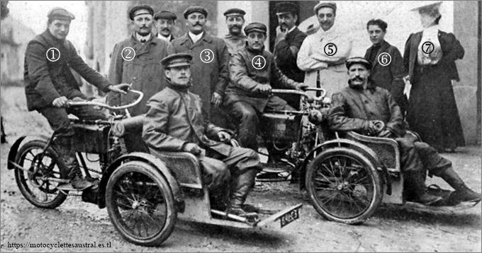 l'équipe Bozier, victorieuse au concours des tricars, 1905: Thomas Schweitzer, Gustave Bozier, Édouard Cheilus, Étienne Giraud, Albert Jean, Henri-Victor Jean.