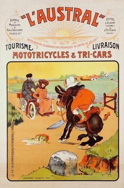 Publicité L'Austral de 1905 avec tricar Austral et paysanne sur âne. Dessin: Walter Thor (1870-1929)