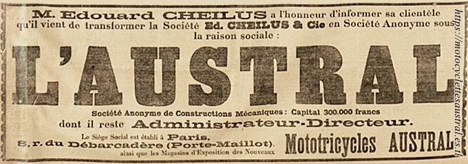 La Société Ed. Cheilus & Cie devient Société Anonyme L'Austral en avril 1905