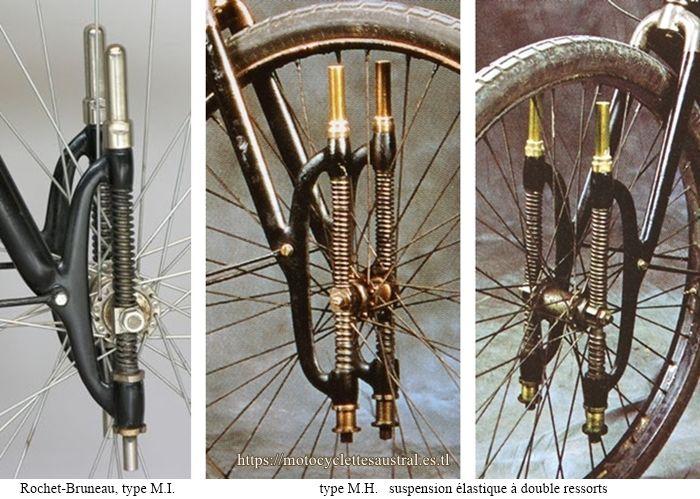 Rochet motocyclettes type MI et MH, suspension élastique à double ressorts, 1906