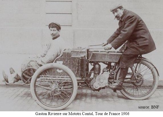 Gaston Rivierre sur Mototri Contal, Tour de France 1906