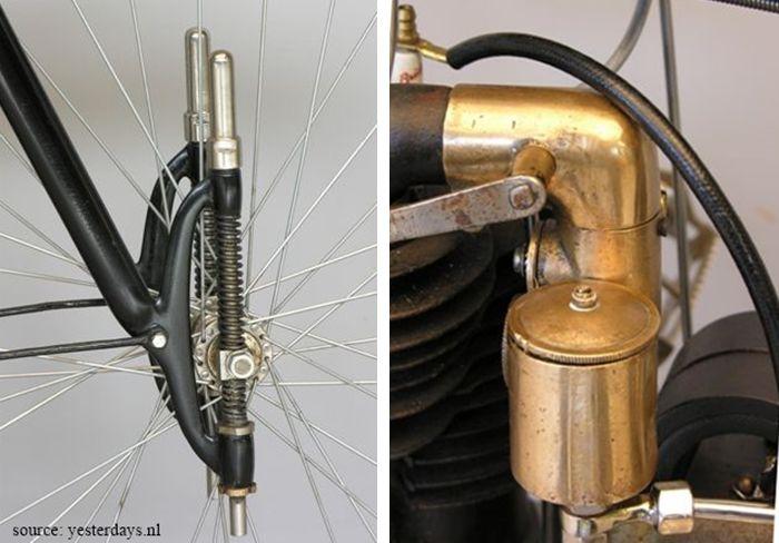 détails de la moto Rochet MI, 1906. Suspension et carburateur