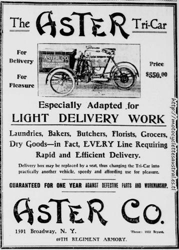 publicité américaine, tricar Aster, 1906