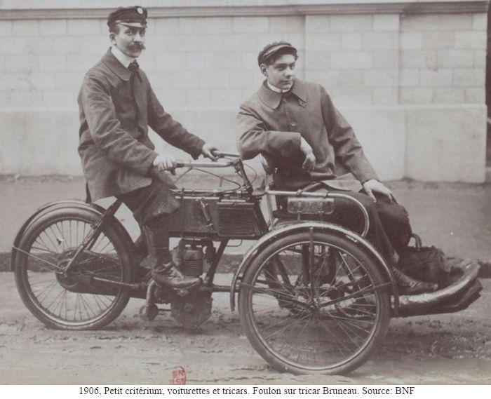 1906, Foulon sur tricar Bruneau lors du Petit Critérium Voiturettes et Tricars.