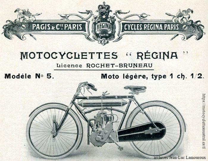 motocyclette légère Régina 1908, modèle no 5, licence Rochet-Bruneau