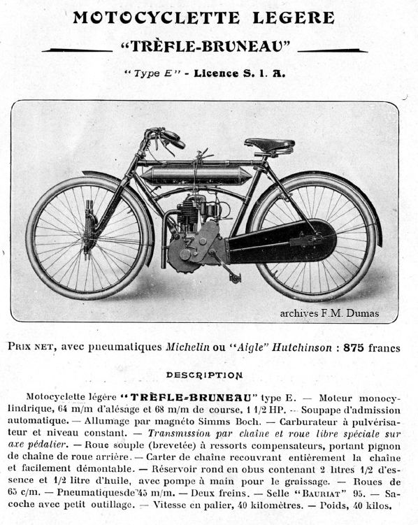 motocyclette Georges Richard, Trèfle-Bruneau, type E licence SIA, 1908