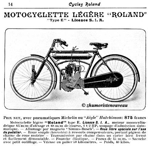 motocyclette légère Roland type E, 1908, licence SIA