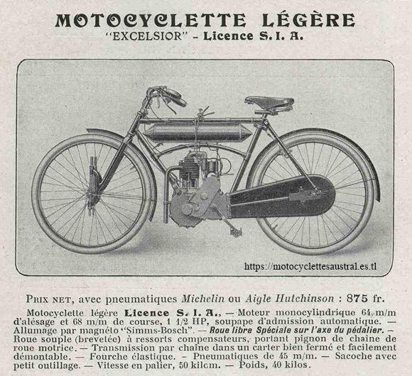motocyclette légère Excelsior 1908, licence SIA