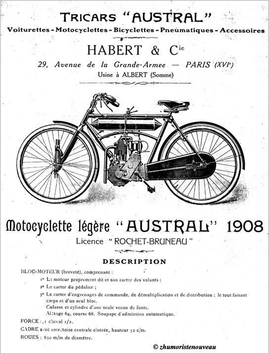 prospectus des établissements Habert et Cie, 1908, représentant la motocyclette légère licence Rochet-Bruneau
