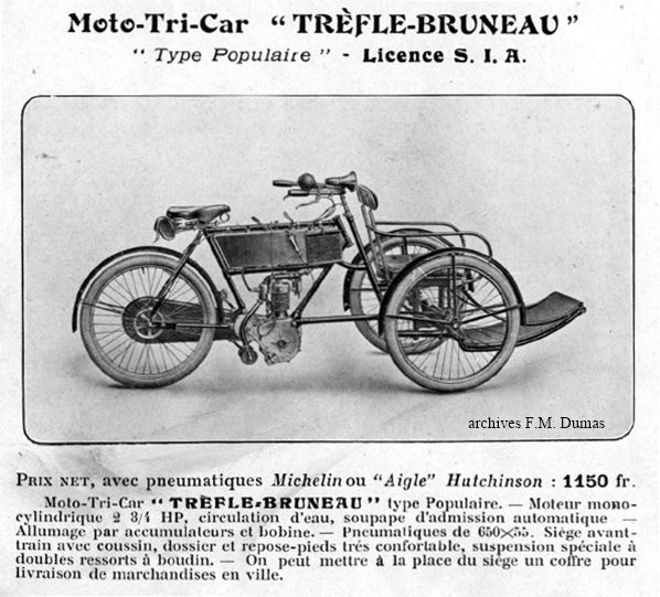 motot-tri-car Trèfle-Bruneau type Populaire, 1908, licence SIA