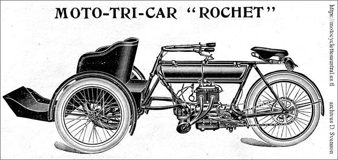 Moto-tricar Rochet composé de la moto MG à moteur bicyclindre vertical, 1910