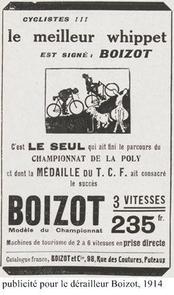 publicité 1914. Le Whippet (dérailleur) 3 vitesses Boizot