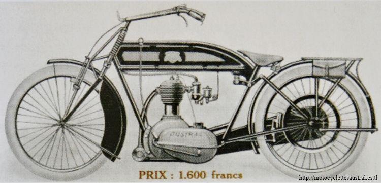 moto Austral avec moteur estampillé Austral de 500 cmc à soupapes latérales et à transmission par chaîne sous carter