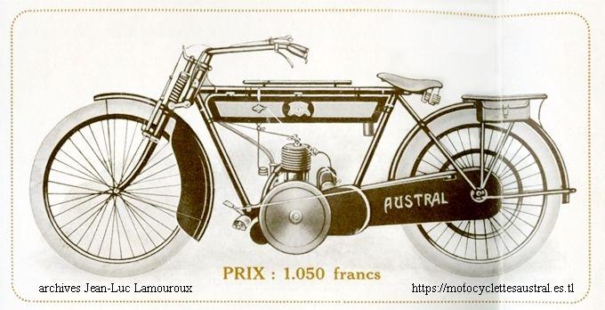 moto Austral 1914 à transmission par chaîne, moteur 2temps