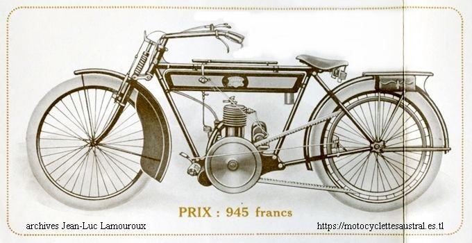1914 motocyclette Austral type B à moteur Ménard 2 temps 211 ccm