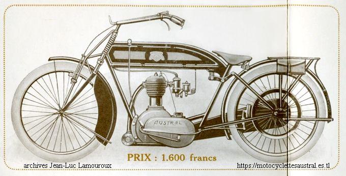 motocyclette Austral 3 1/2 HP - dans le catalogue dénommée 4HP - à moteur 4 temps marqué AUSTRAL