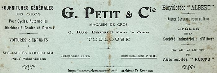 publicité de G. Petit, bicyclette Albert, automobiles Hurtu, cycles de la SIA