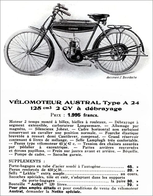 extrait d'un catalogue, vélomoteur Austral type A24