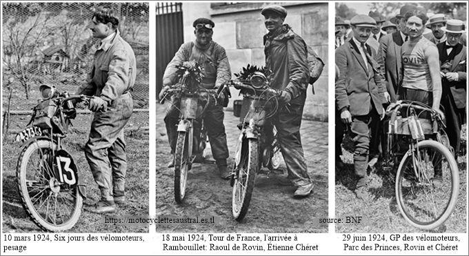 trois portraits de Chéret en 1924 avec la motocyclette légère Rovin 175 cmc