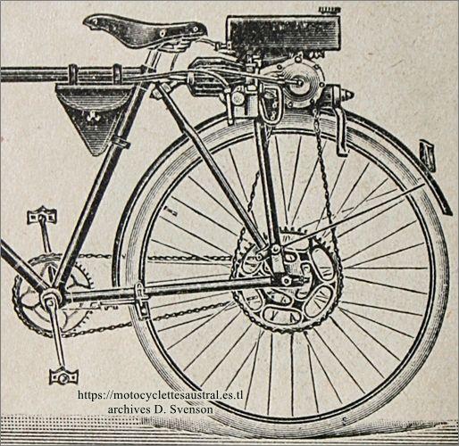 groupe moteur amovible pour bicyclettes Lutétia 1921. Breveté par Marcel Échard