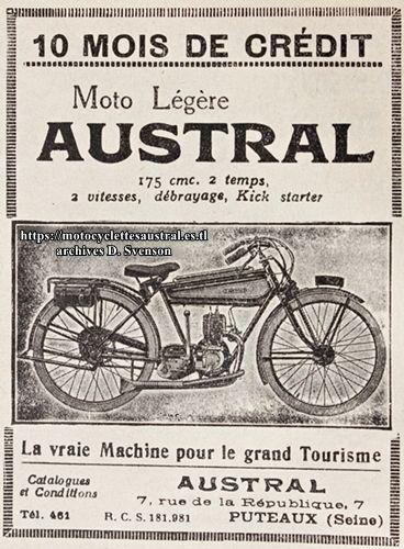 1925 Austral moto légère type B25 publicité, 10 mois de crédit