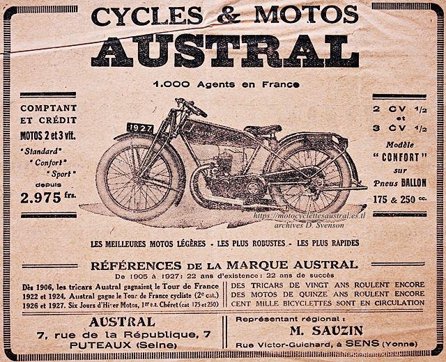encart publicitaire du concessionnaire de la marque Austral, M. Sauzin à Sens (Yonne)