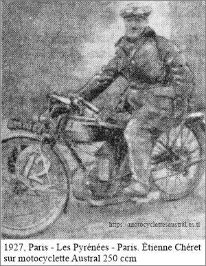 1927 Cheret sur moto Austral lors de Paris-les Pyrénées-Paris