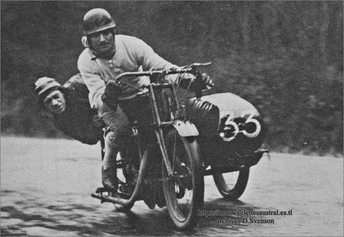 Chéret sur 350 cm3 Austral sidecar en avril ou mai 1928